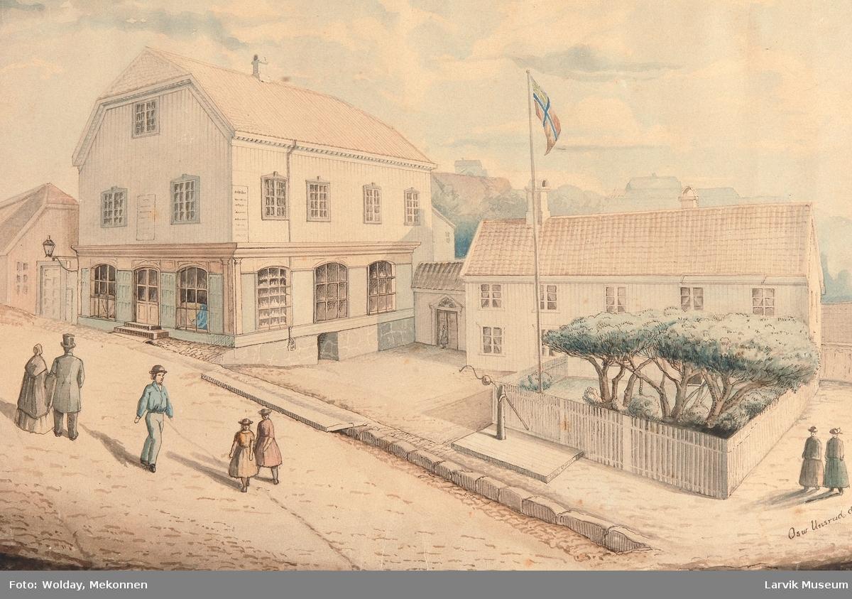 Kjøpmann Abraham Andersens gård, Kongegata Larvik ca.1870
