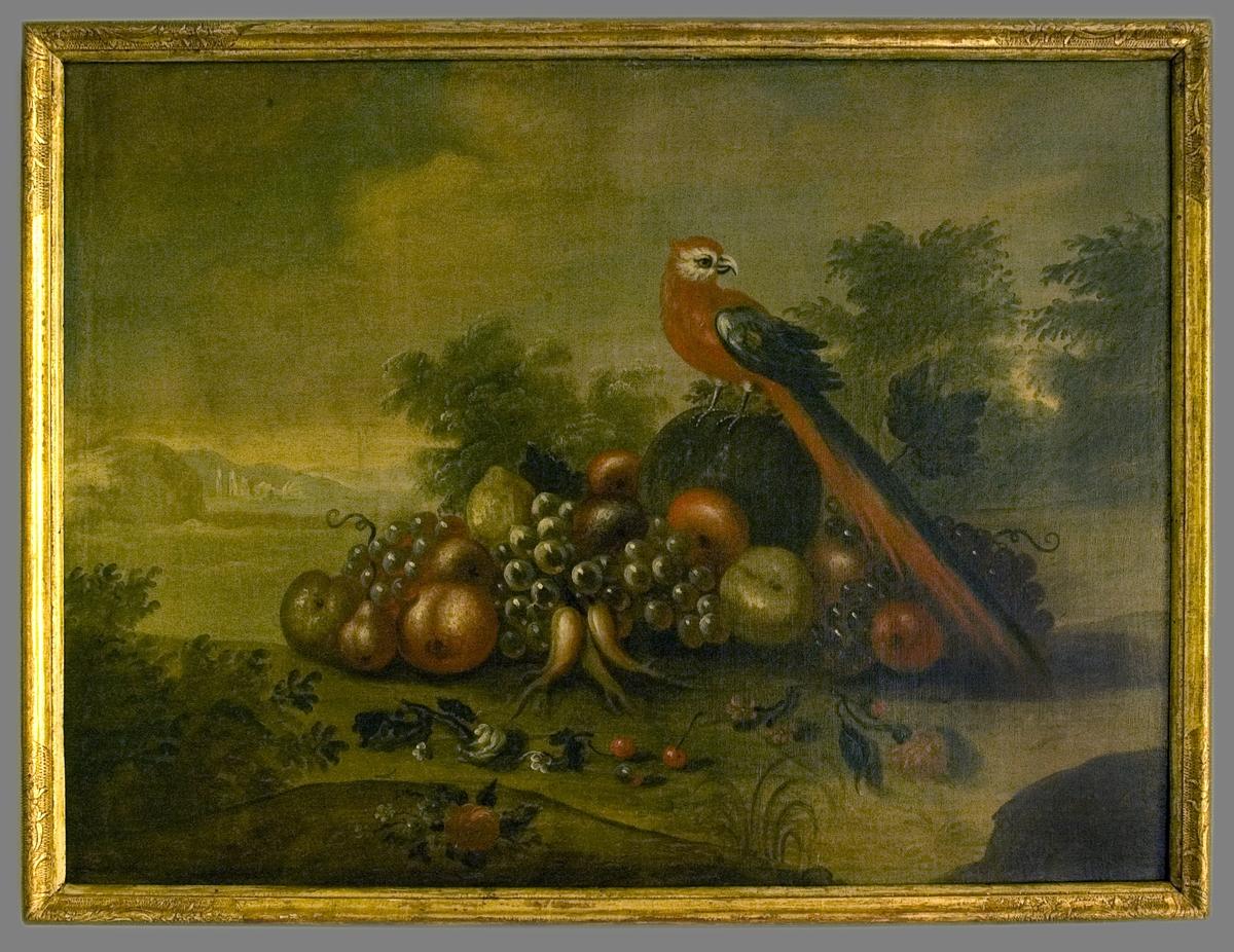 En färgrik fågel med lång stjärt sittande i ett antytt landskap på en hög med frukter: melon, äpplen päron, vindruvor. I förgrunden strödda rosor och körsbär, i bakgrunden träd och moln.