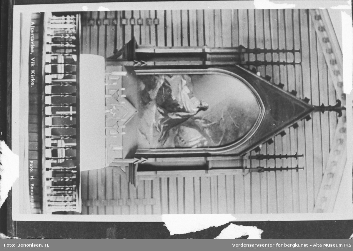 Bilde av altertavlen i Vik Kirke.