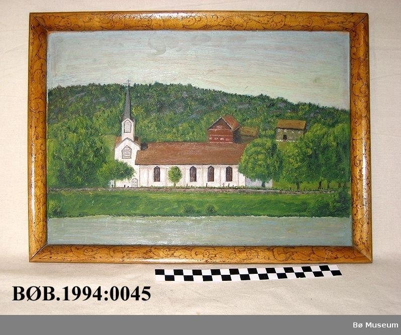 Ramme: blomstermotiv  Bildet: ei kyrkje, to hus