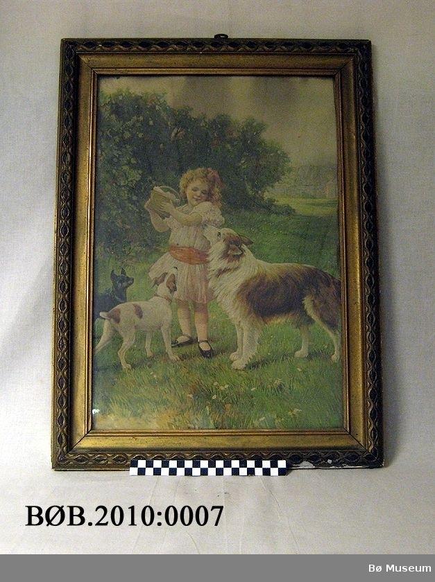 Tittel: The lucnch basket. Barn, jente med lunchkorg og tre hundar