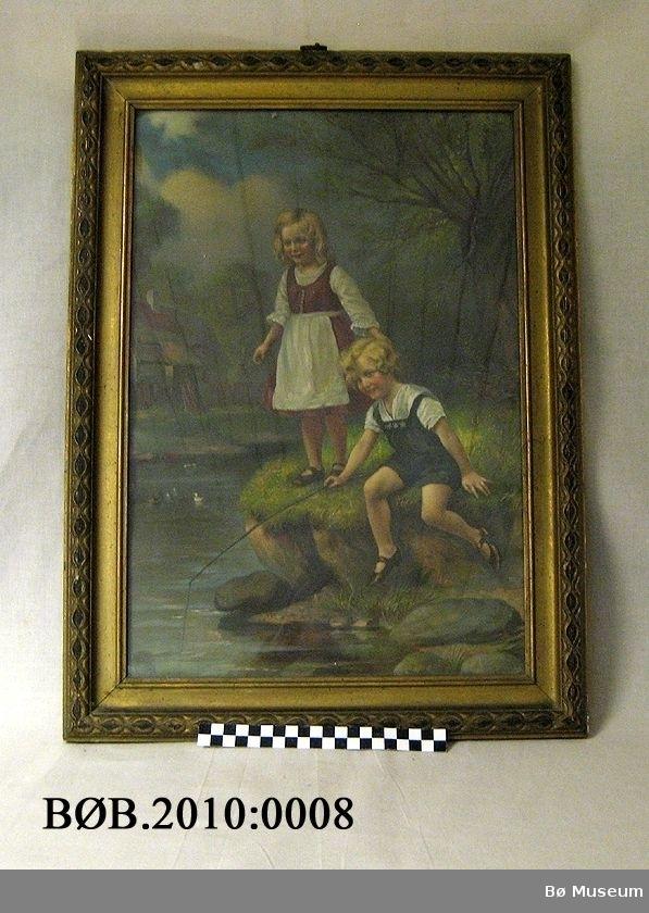 To barn med fiskestang