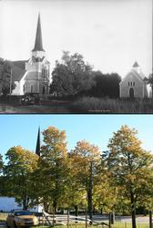Refotografering. Rakkestad kirke med gravkapell, Rakkestad,