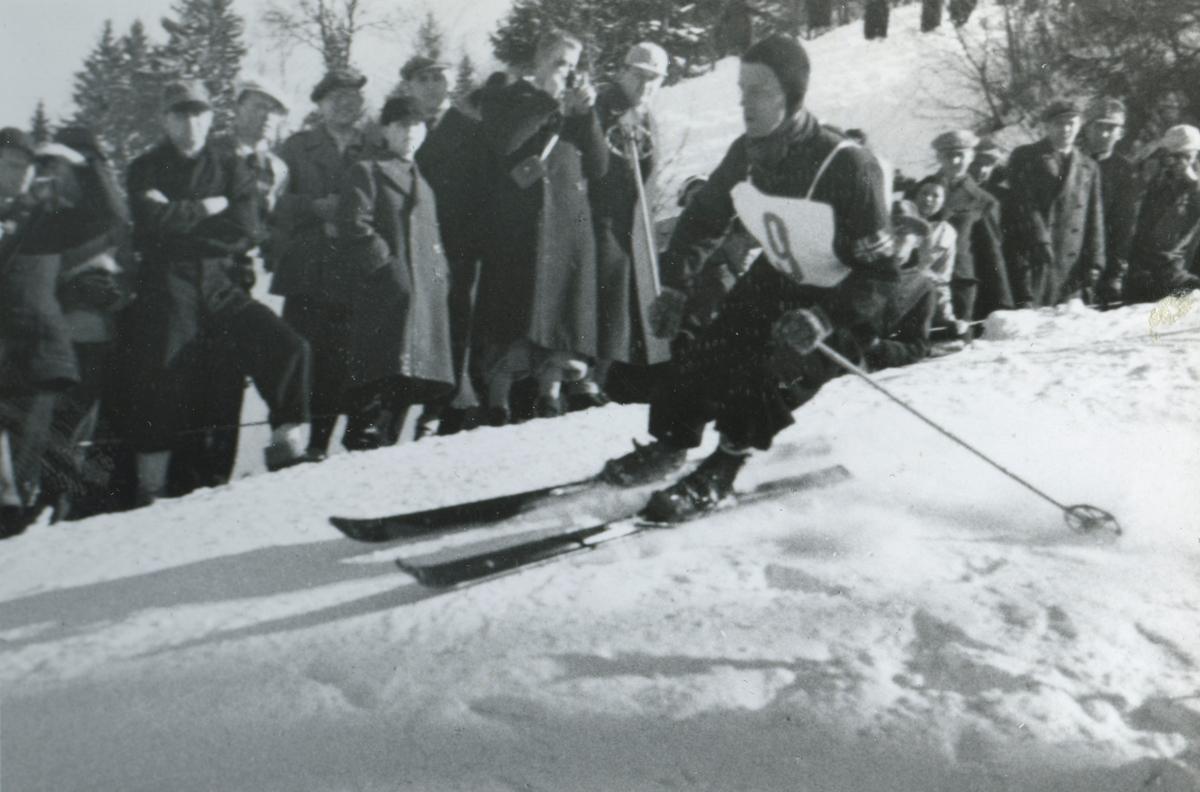 Norwegian skier Alf Konningen in downhill race at Garmisch