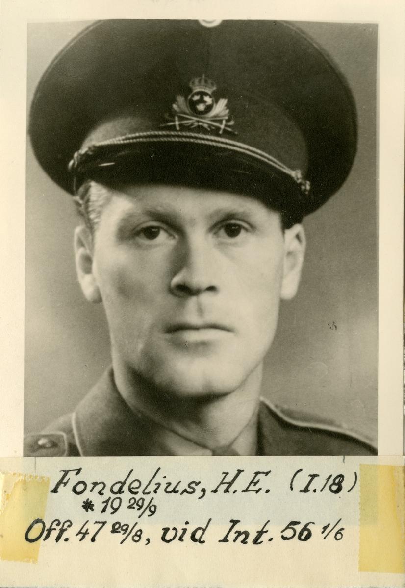 Porträtt av Hans Erik Fondelius, officer vid Gotlands infanteriregemente I 18 och Intendenturkåren.