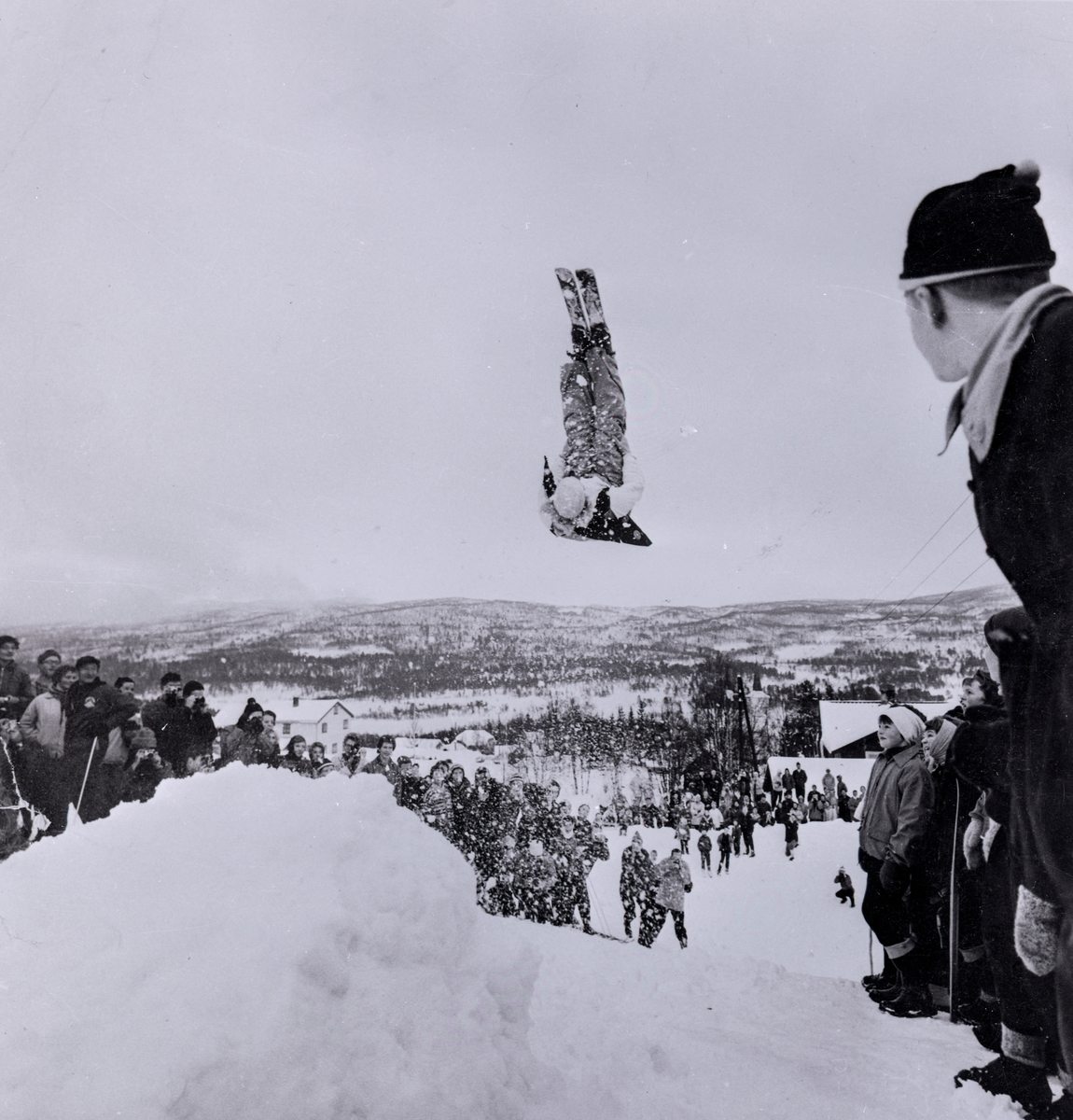 Kongsberg skier Birger Ruud doing a salto