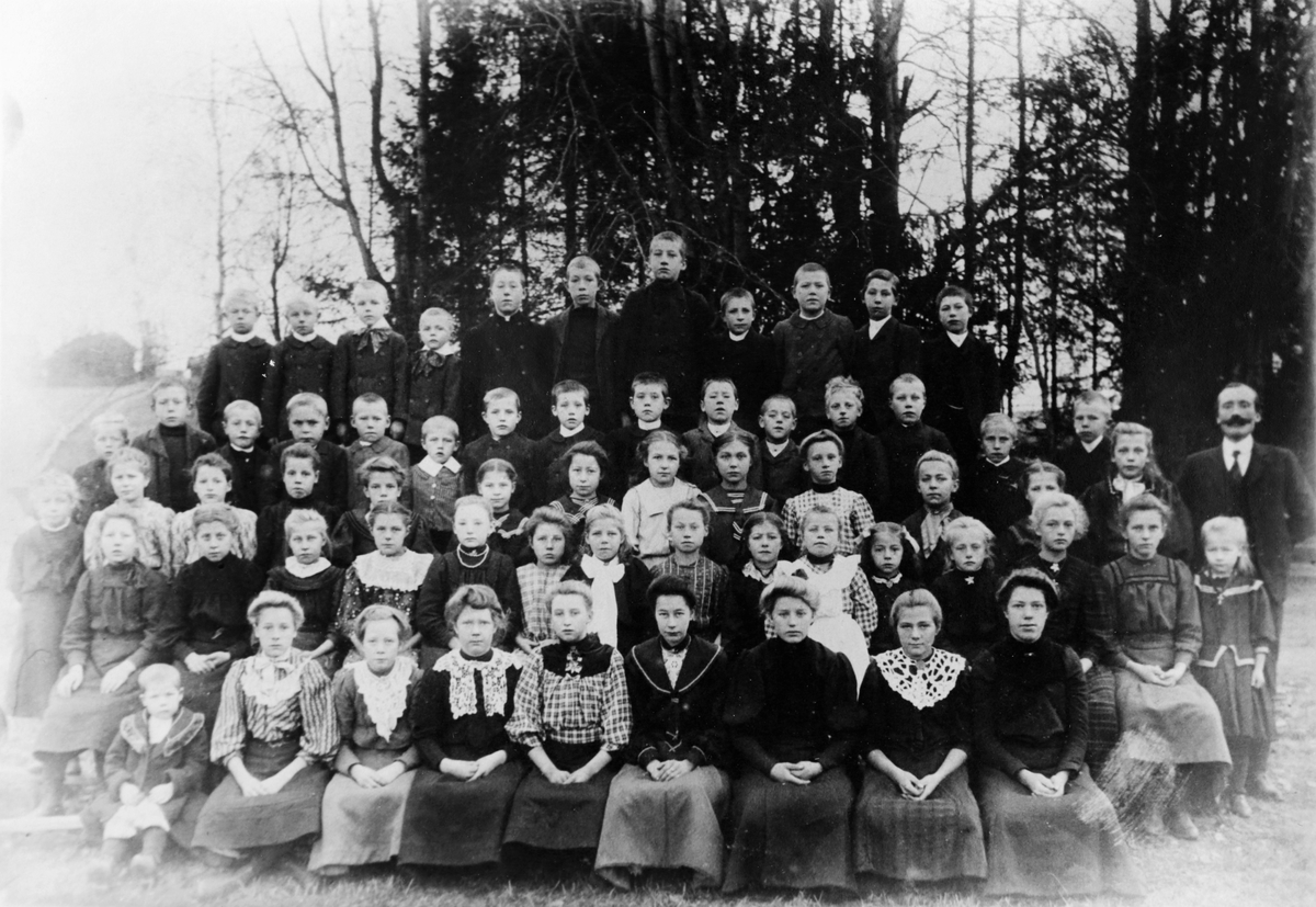 Gruppebilde fra Lokshaug skole, 1908