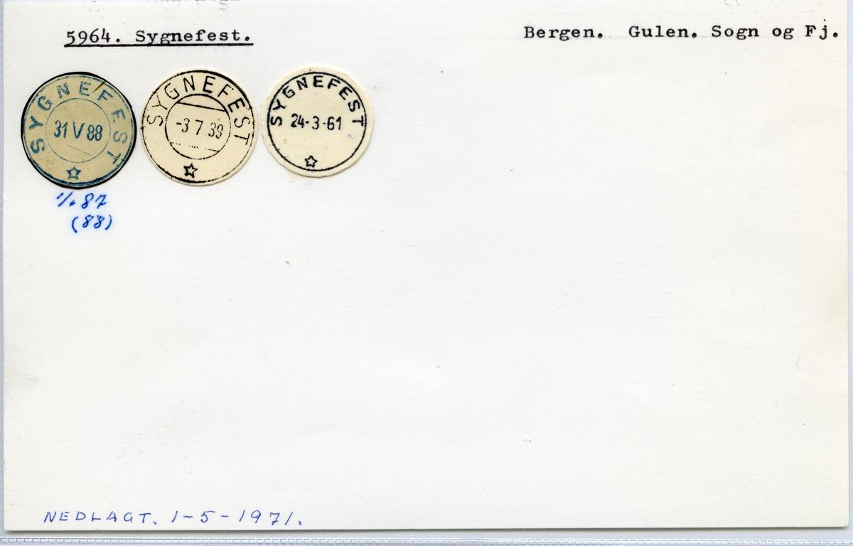 Stempelkatalog  5964 Sygnefest, Gulen kommune, Sogn og Fjordane