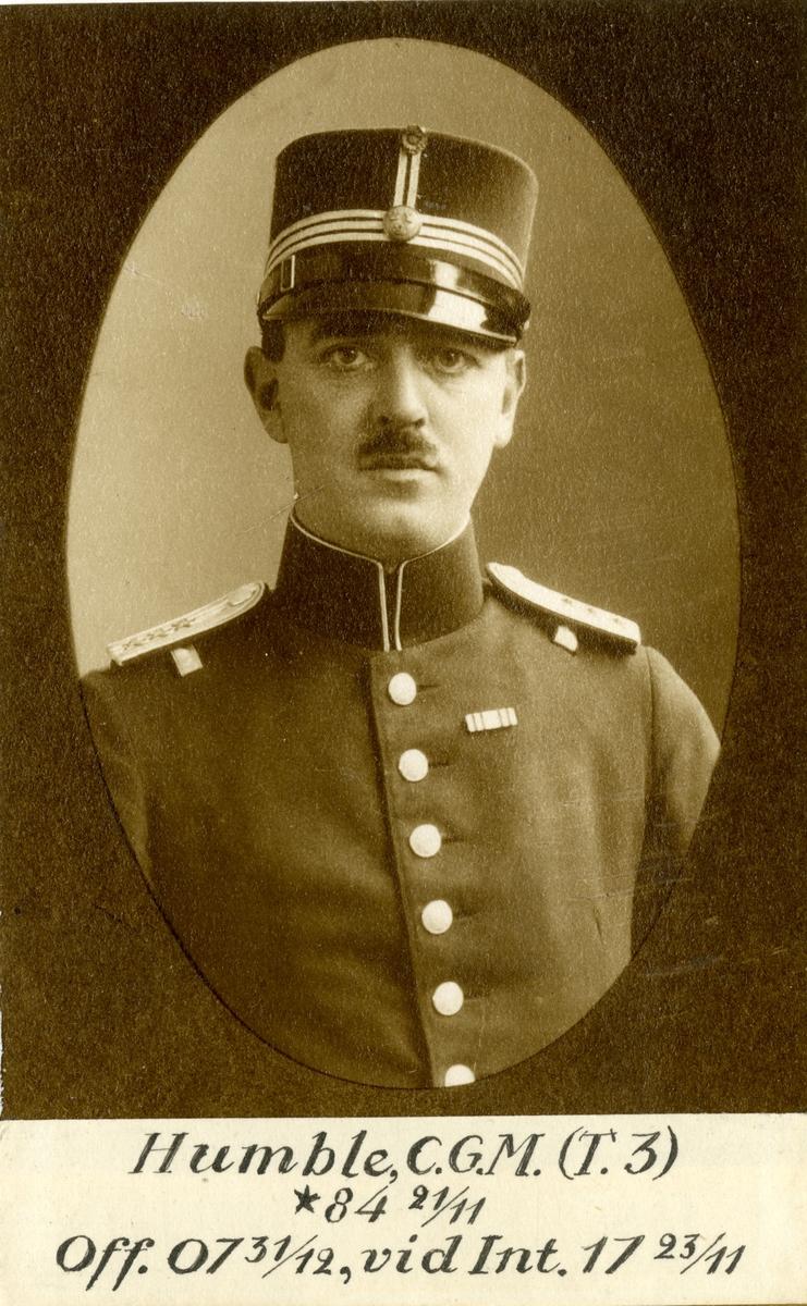 Porträtt av Carl Gustaf Magnus Humble, officer vid Trängen och Intendenturkåren.