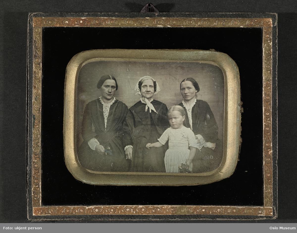 daguerreotypi: gruppe, kvinner, jente