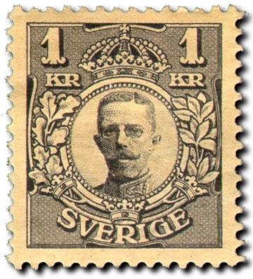 Gustaf V i medaljong.