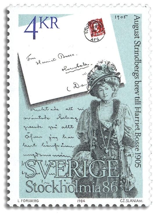 Harriet Bosse och ett brev från August Strindberg.