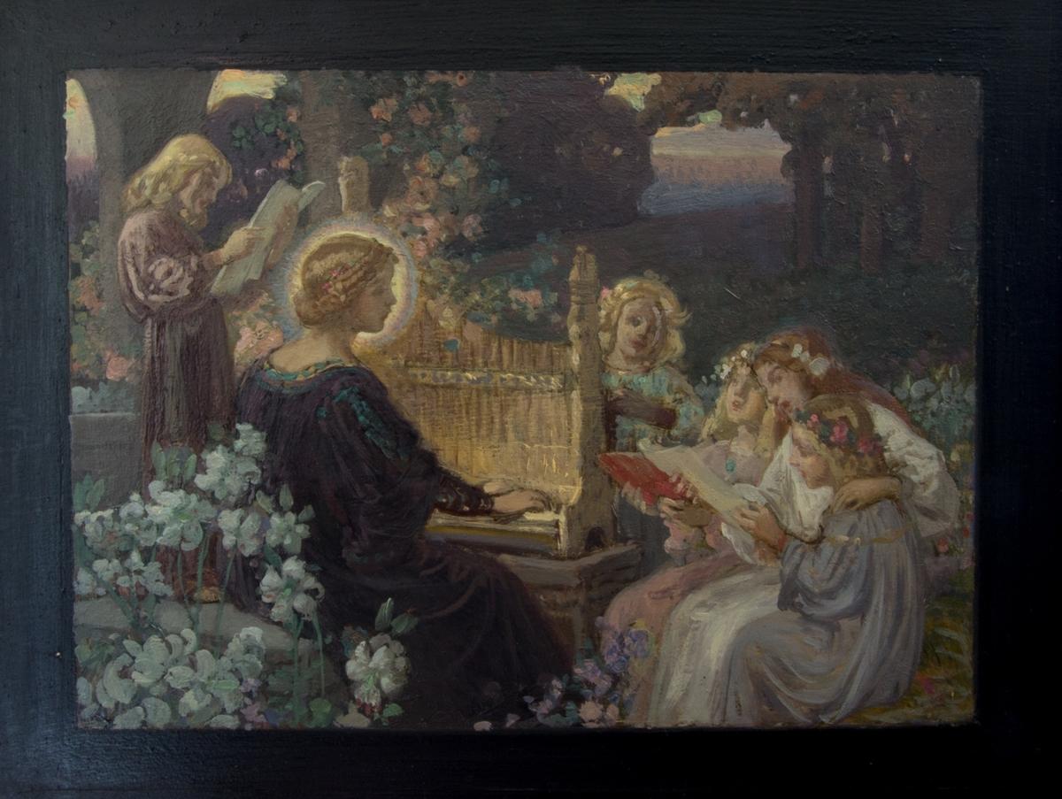 Den heliga Cecilia spelar på orgelpositiv omgiven av barn.