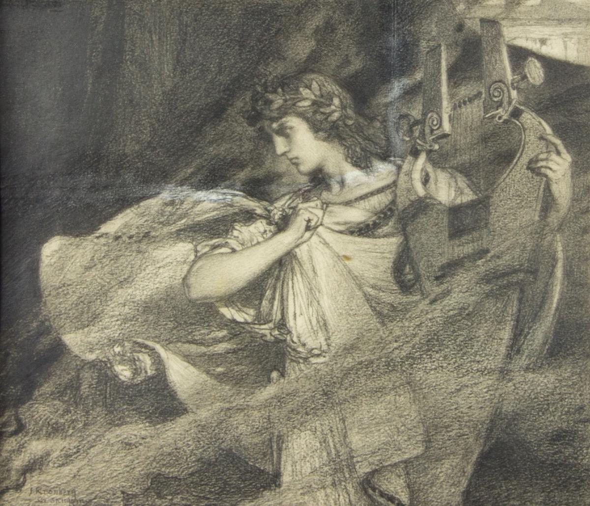 Fru Mathilda Jungstedt som Orfeus. Stående halvfigur som håller i en lyra. Dramatiskt draperad klädsel. Diffus bakgrund.