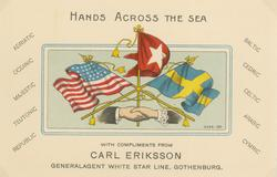"""""""Hands across the sea With compliments from Carl Eriksson"""