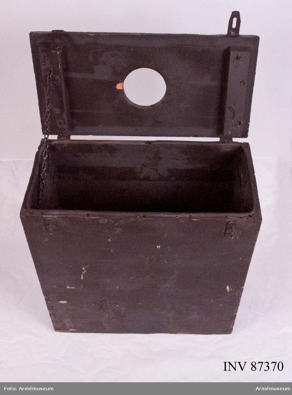 Hylslåda till kulspruta m/1936 med tillhörande hylsrör och fästring.