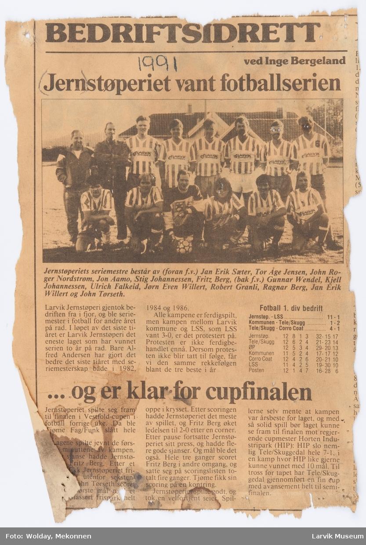 Larvik Jernstøperi's  fotballag 1991.