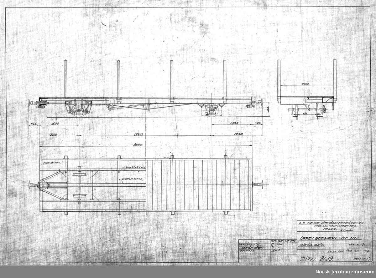 Öppen godsvagn litt. NN spårvidd 750 m/m  Vogn 104-105 anskaffet som privatvogner av Liermosen Torvstrøfabrik og nr. 106-107 anskaffet av Hjellebøl Torvstrøfabrik. Begge overtatt av NSB etter 1945. Litra T på UHB (NN er svensk litra for typen).  Vognvekt 3,0 tonn, lasteevne 7,0 tonn