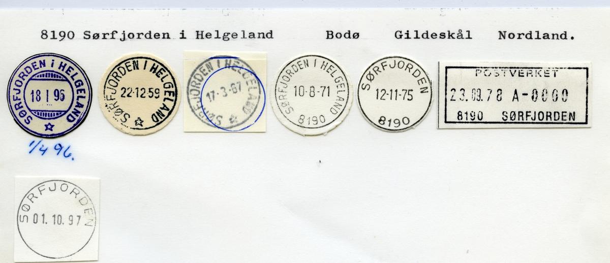 Stempelkatalog  8190 Sørfjorden, Gildeskål kommune, Nordland