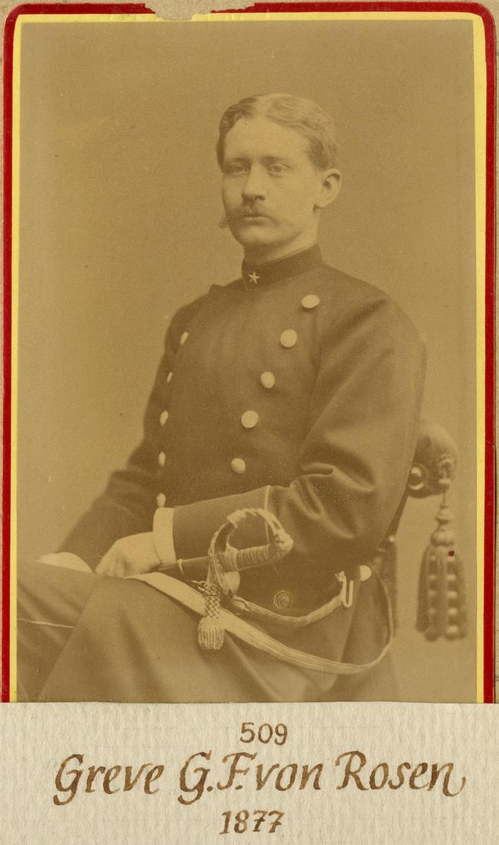 Porträtt av Gustaf Fredrik von Rosen, underlöjtnant vid Andra livgardet I 2.  Se även bild AMA.0021879.