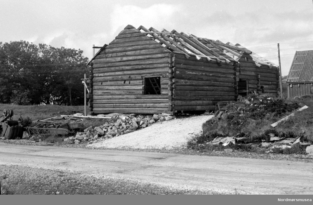 Almskårstua under oppføring, etter at den har blitt flyttet fra Clausenengen til Nordmøre Museum i Knudtzondalen. Her skal taket legges. Bildet er fotografert fra sør-øst, og datert 25. august 1959. Fra Nordmøre Museums fotosamlinger.
