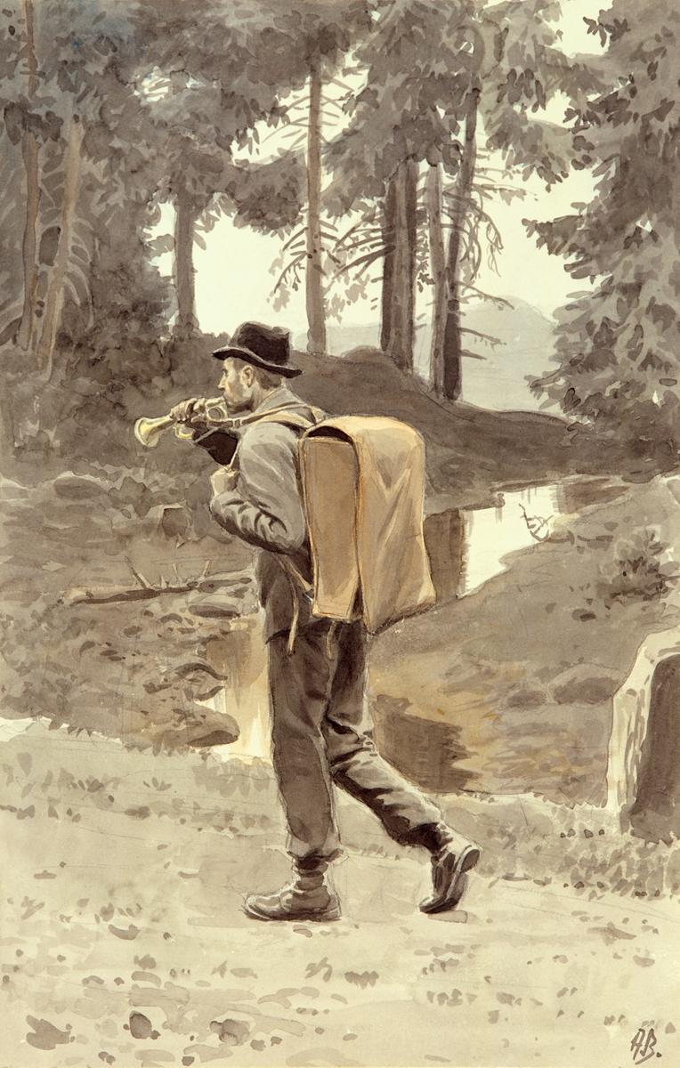 postmuseet, kunst, akvarell, Andreas Bloch, postførsel, postfører til fots i skogen, blåser i posthorn, postveske (ransel) på ryggen, motivet finnes også på CD-rom PRO1, bilde nr 65