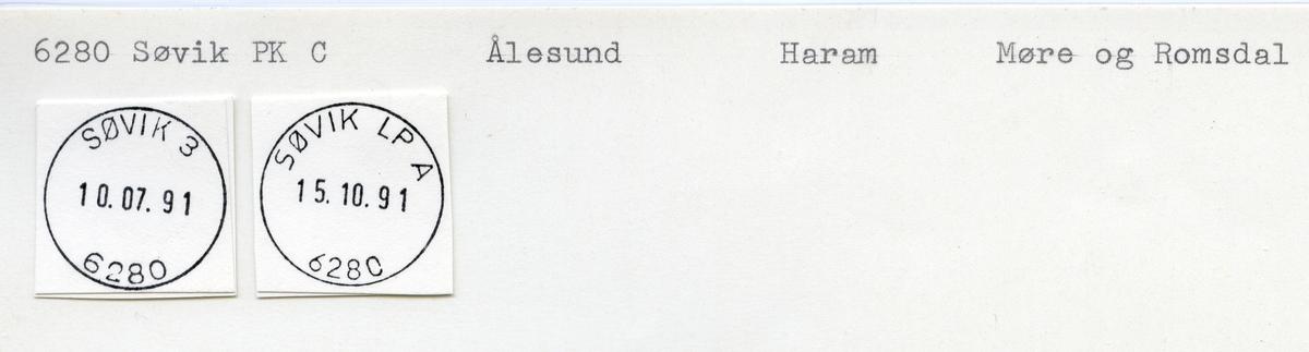 Stempelkatalog  6280 Søvik, Haram kommune, Møre og Romsdal (Syvikgrend)