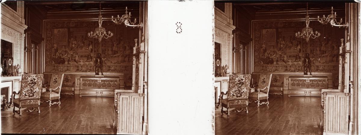 """Stereobild av Henri Alberts kammare i Chateau de Pau. """"Chambre d'Henri d'Albert""""."""