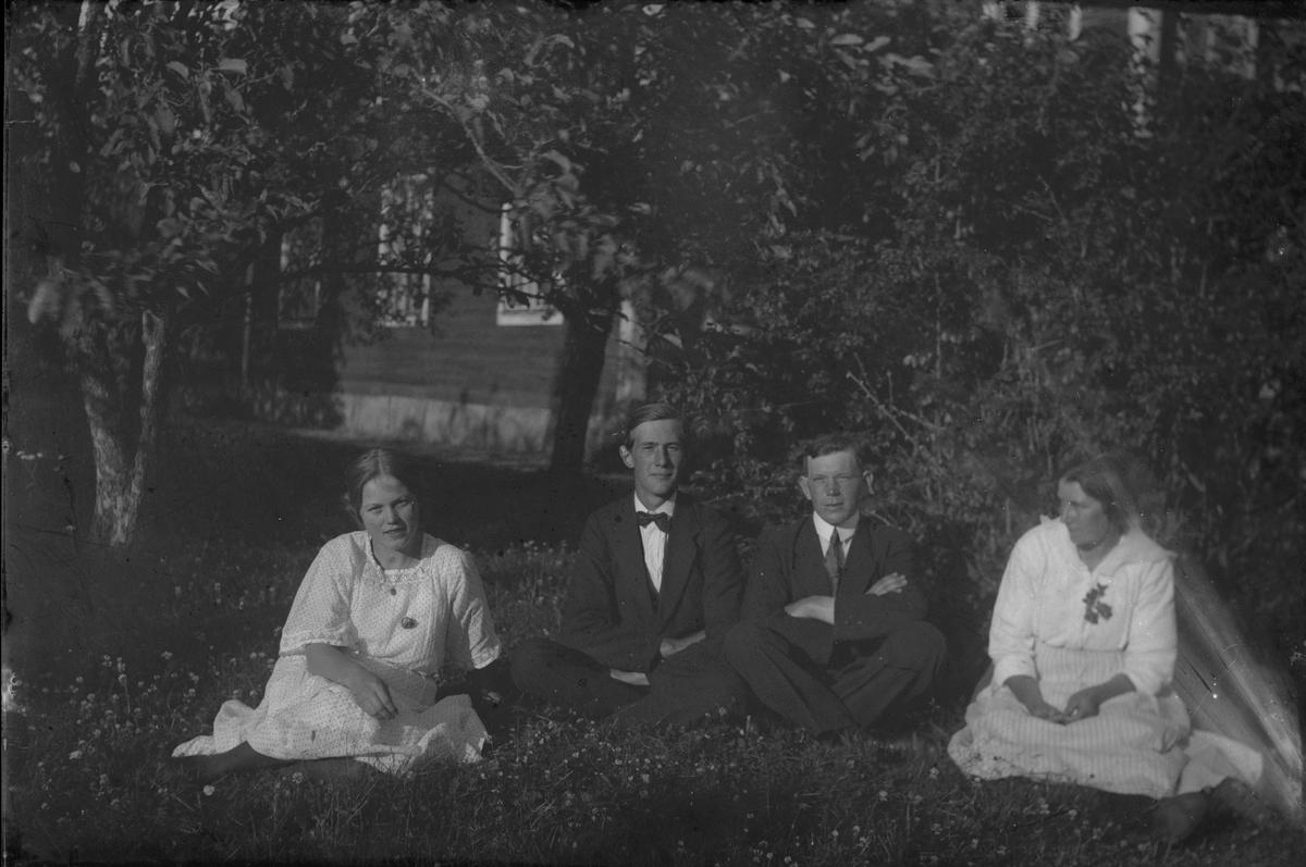 Två kvinnor och två män i trädgård.