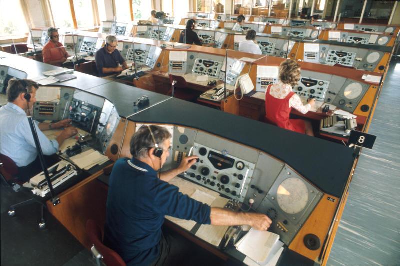 Radio- og kringkastingsstasjoner. Radiotelegrafisal ved mottakerstasjonen for Rogaland radio, Skjæveland (Foto/Photo)