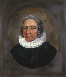 Portrett av eidsvollsmann og sogneprest J. H. Darre  Mann med grått, halvlangt hår. Prestedrakt.