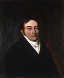 Portrett av John Moses. Mørk drakt, hvit vest, skjorte og halsbind. Rødbrun bakgrunn.