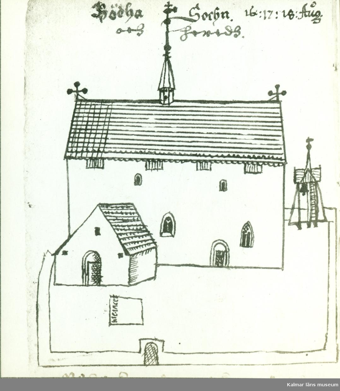 Teckning av Böda kyrka. Serie efter Rhezelius.
