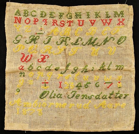 Bokstaver og tall. Alfabetet- Olia Jensdatter Ambjørnrud 1873