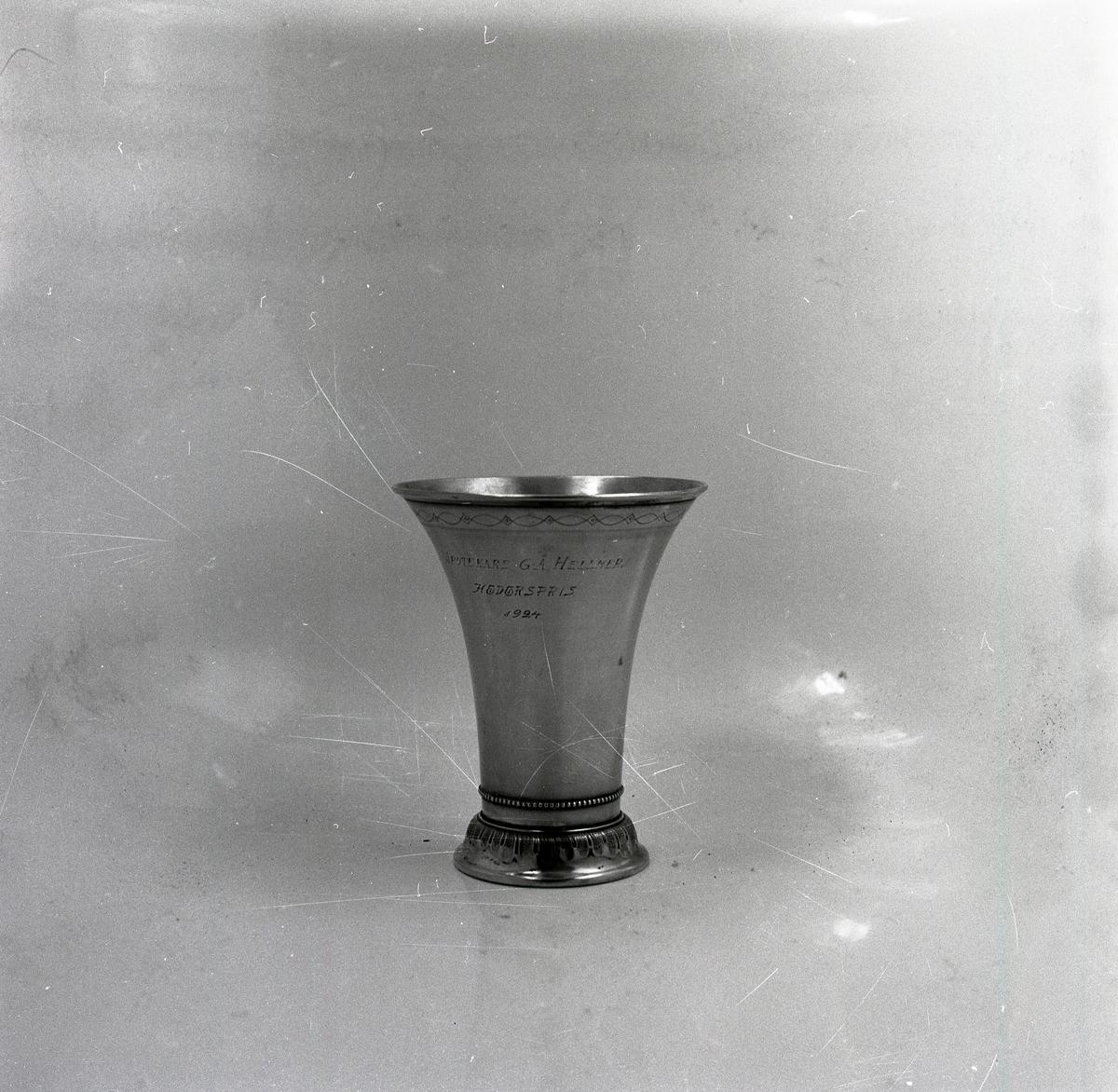 På en glansig yta står en blankpolerad prispokal med gravyr och utsmyckningar vid foten.