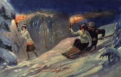Julekort. Jule- og nyttårshilsen. Vintermotiv. Et par på kje