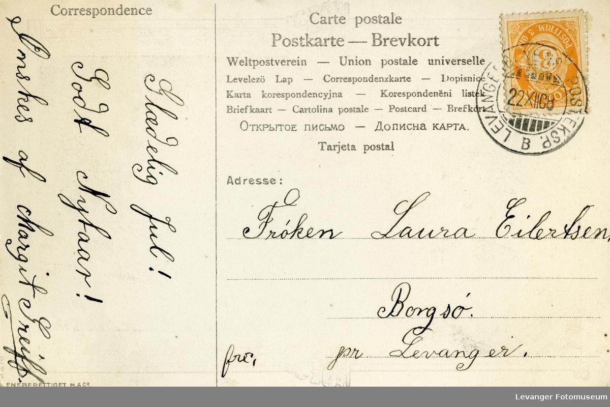Postkort av koneparet og Nidarosdomen i forbindelse med kroningen, brukt som julekort.