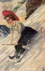 Postkort. Jule- og nyttårshilsen. Vintermotiv. Kvinne akende