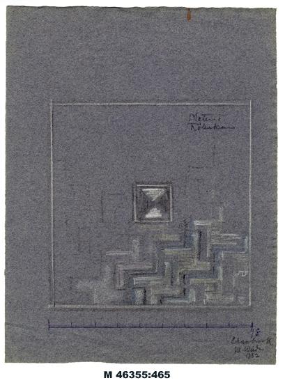 """Blyertsteckning/kritteckning på blågrått papper. """"Matta i Röllakan"""". Förslag till röllakansmatta med geometriskt mönster i vitt,  blått och gråsvart. Underst en måttskala i ft.  Utförd på Cranbrook Academy of Art, Mich., USA.  Inskrivet i huvudbok 1983. Montering/Ram: Ej ramad"""