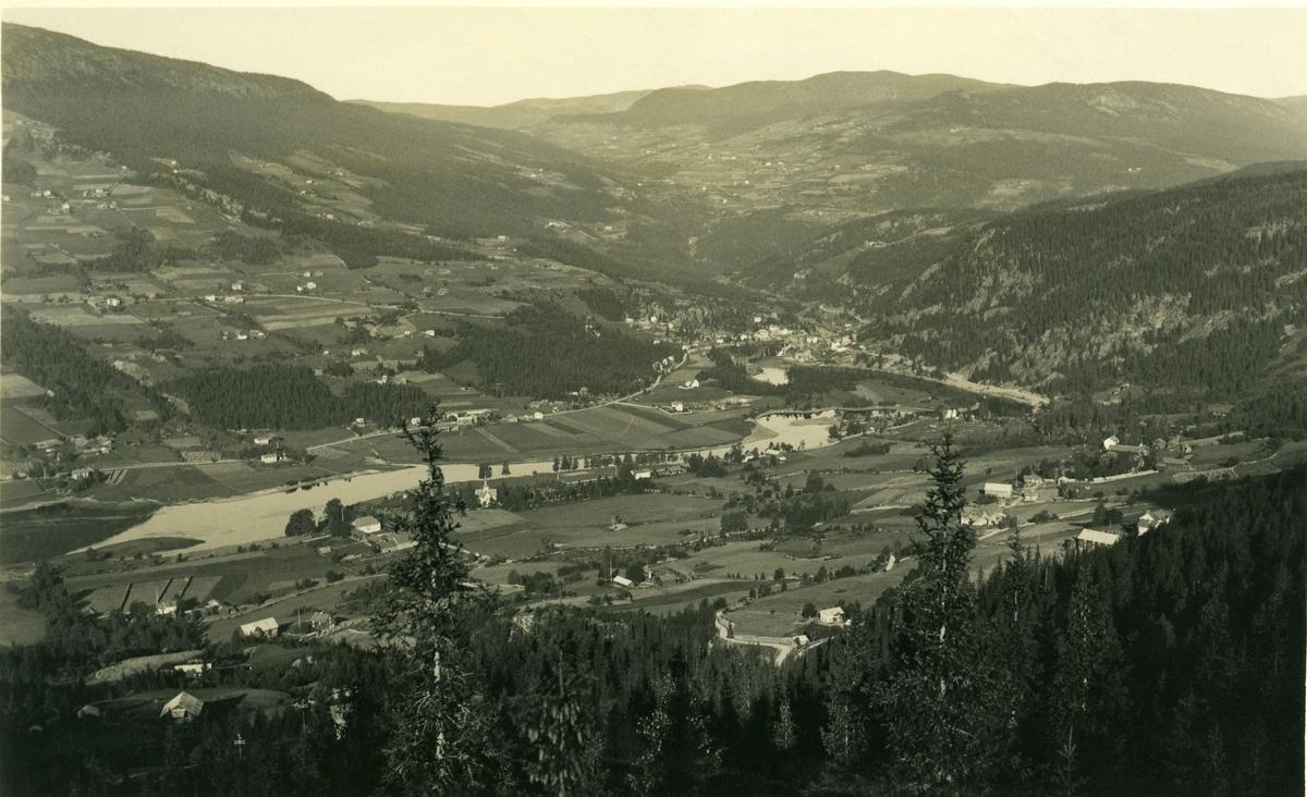 OVersiktibilde over Østre og Vestre Bagn. Bygda øverst, midt på bildet er Reinli.