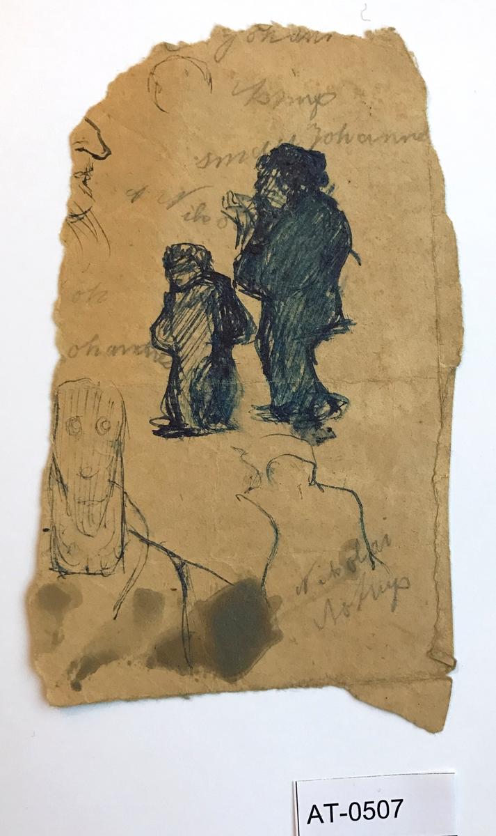 Ensidig skisse. Kanskje av Nikolai Astrup og lillebroren Johannes som var 13 år yngre enn han. Motiv frå seinast 1903 i so fall (grunna høgda på guten).