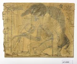 To troll framfor dør med måla kors [Tegning]