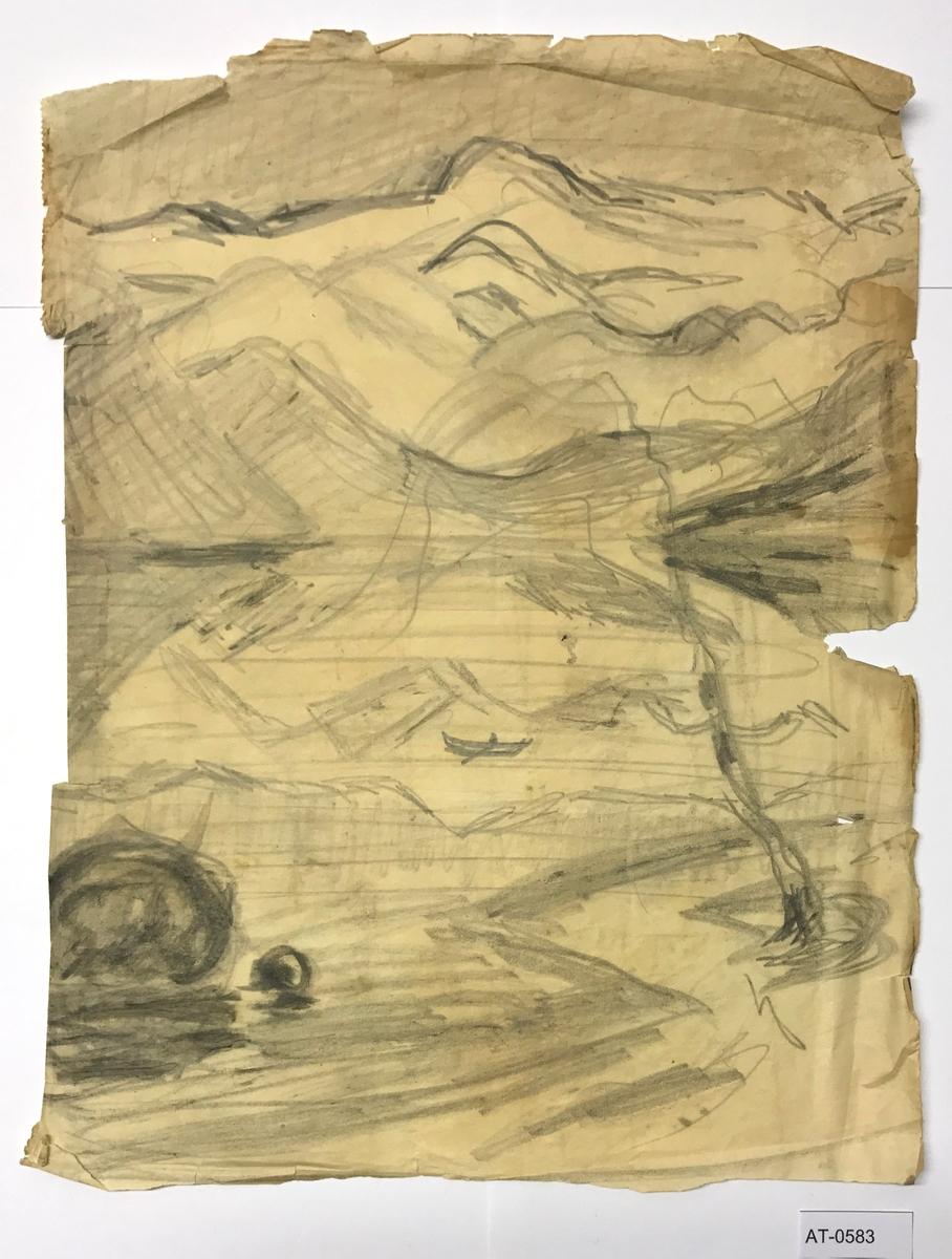 Einsidig skisse på ark frå skissebok