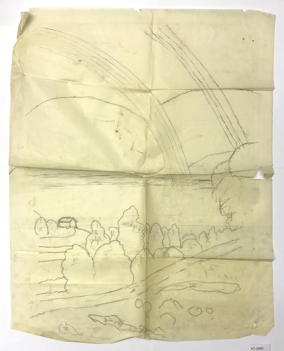 Einsidig skisse på stort samanbretta ark. Kan vere skisse til eit måleri. Ikkje same motiv som i trykket der det er folk i framgrunnen og seglbåt på vatnet.