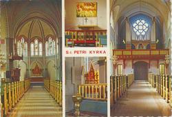 Vykort med interiör från Sankt Petri kyrka i Västervik.