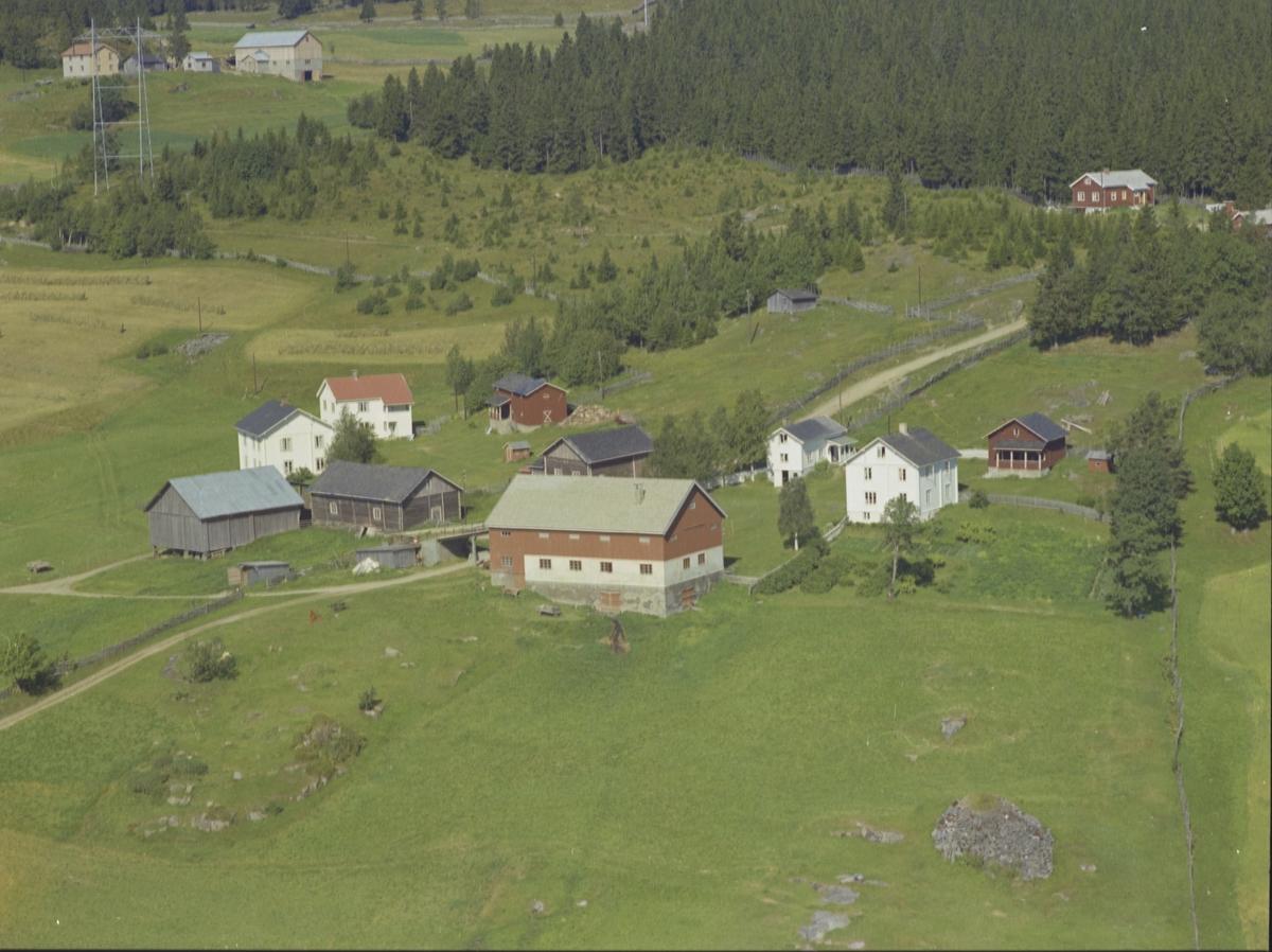 Gård. Fire hvitmalte våningshus, to eldre grånede bolighus, rød og hvit driftsbygning, en grå låve, to røde bygninger og to hundehus. Dyrket mark, vei og granskog i bakkant. Hjelmstad-gårdene Østre Gausdal