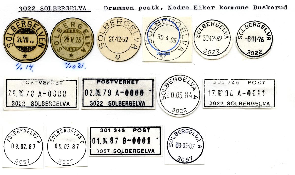 Stempelkatalog 3022 Solbergelva, Nedre Eiker kommune, Buskerud