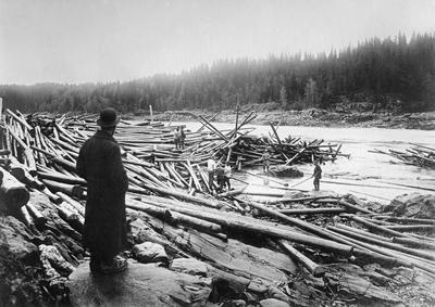 Tømmervaser eller tømmerhauger på en steinete elvebredd i nedre Glomma. Bildet er tatt ved Rudshverven, nederst i Rudsfossen eller Hvervefossen