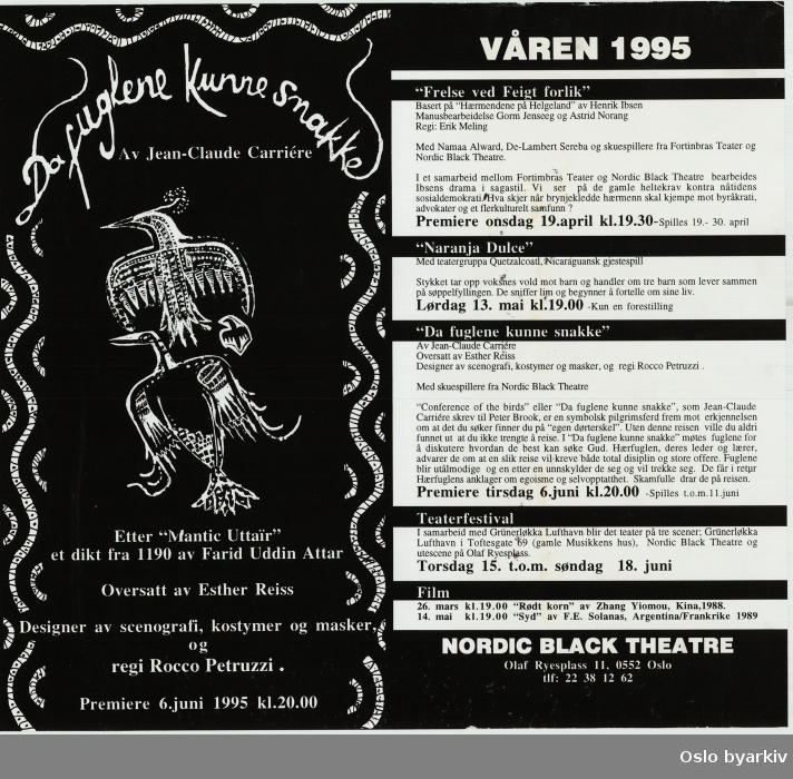 Spilleplan Parkteatret vår 1995, plakat for forestillingen Da fuglene kunne snakke...Oslo byarkiv har ikke rettigheter til denne plakaten. Ved bruk/bestilling ta kontakt med Nordic Black Theatre (post@nordicblacktheatre.no)