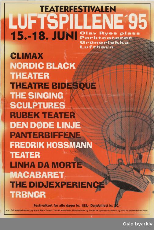 Plakat for festivalen Luftspillene '95...Oslo byarkiv har ikke rettigheter til denne plakaten. Ved bruk/bestilling ta kontakt med Nordic Black Theatre (post@nordicblacktheatre.no)